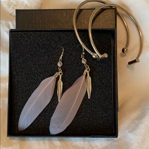 Feather earring / cuff bracelet combo